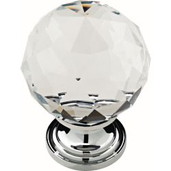 Liberty 1-3/16 inch Chrome with Clear Faceted Glass Ball Cabinet Knob