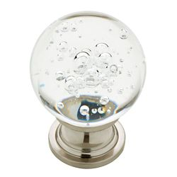 Liberty 1-1/4 inch Satin Nickel with Clear Bubble Glass Cabinet Knob