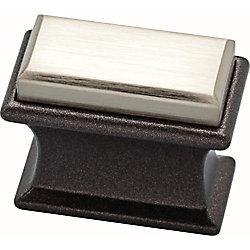 Liberty Luxe 1-2/5 inch Square Satin Nickel and Cocoa Bronze Dual Tone Cabinet Knob