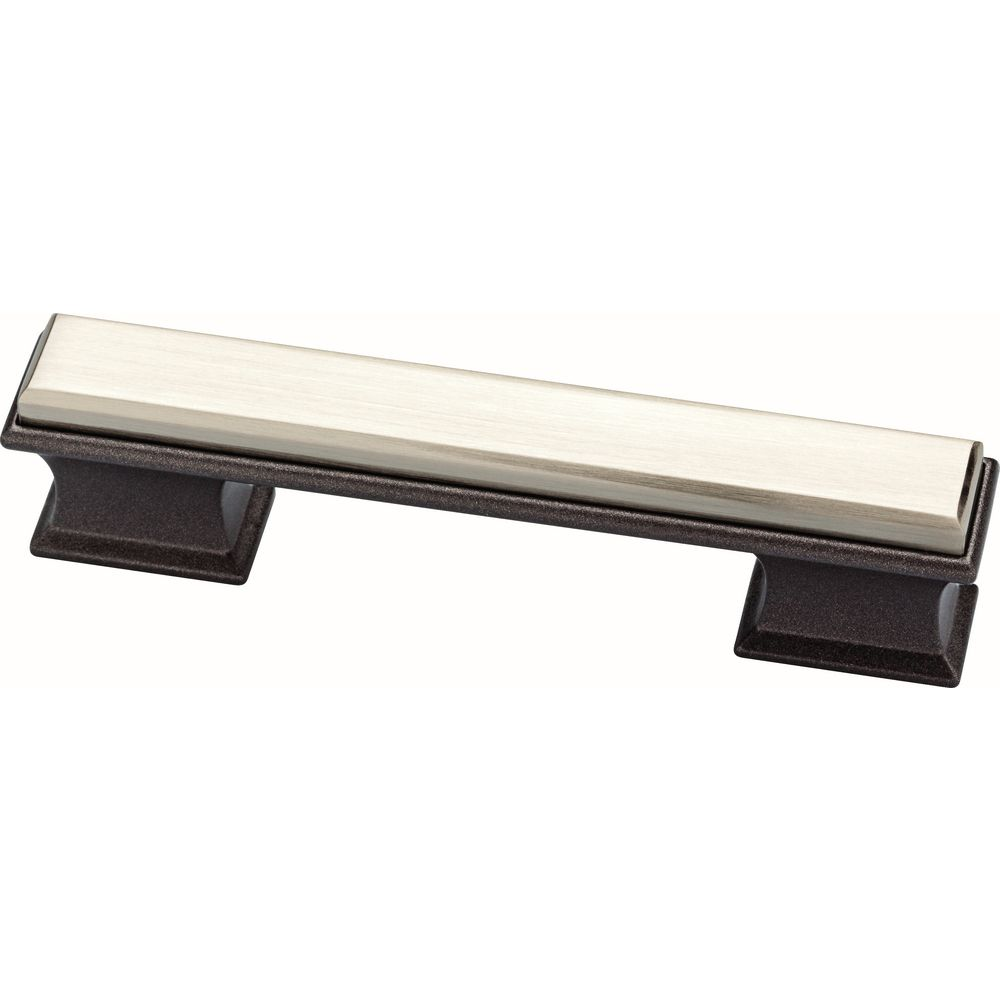 Liberty Luxe Square 3 or 3-3/4 inch (76 or 96 mm) Satin Nickel and Cocoa Bronze Dual Mount Cabinet Pull