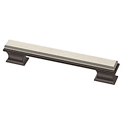 Liberty Luxe Square 5-1/16 inch (128mm) Cocoa Bronze w/ Satin Nickel Insert Cabinet Pull