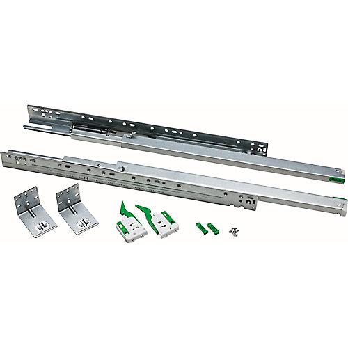 Glissière pour tiroir, roulement à billes inférieur, pleine extension, 533mm (1paire)