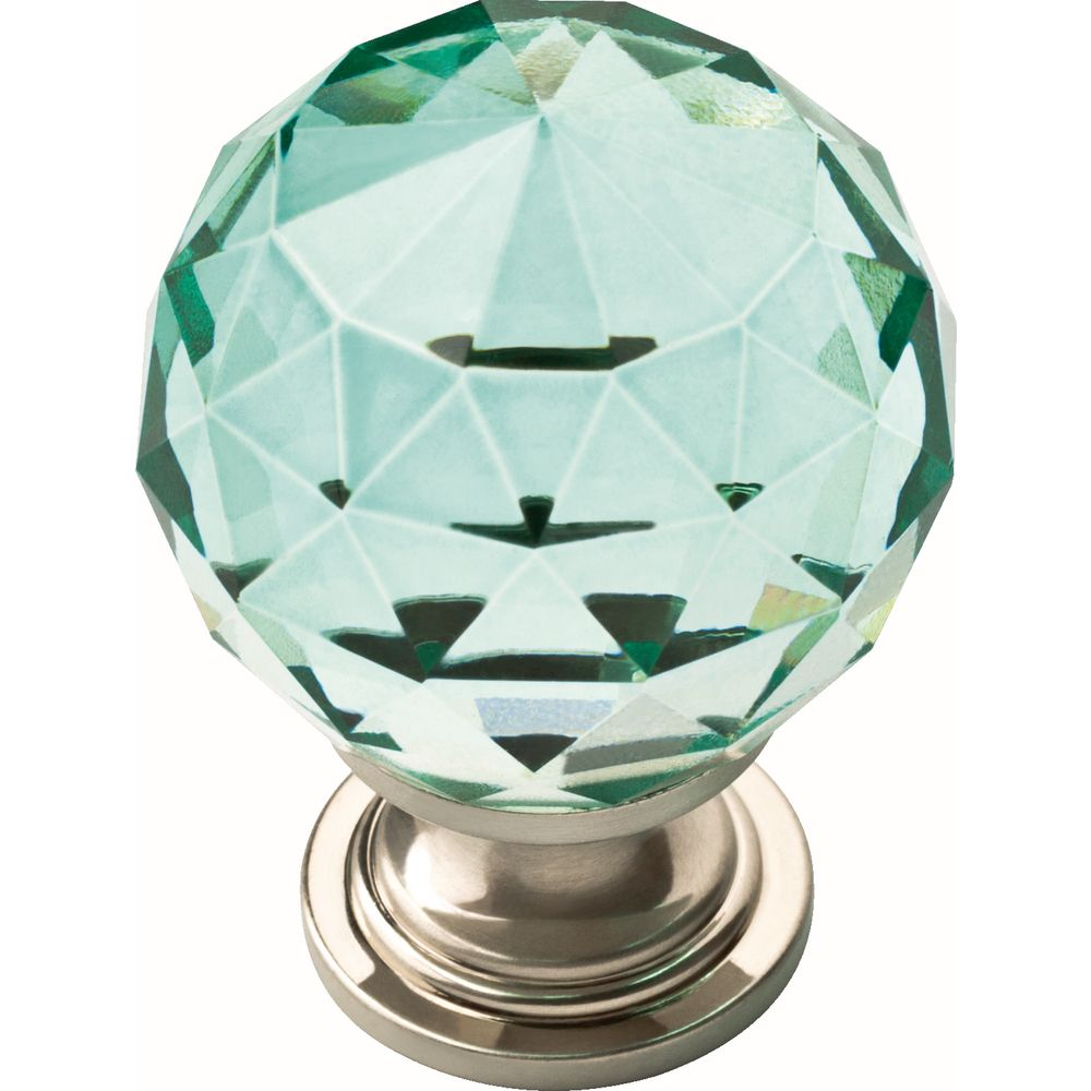 Liberty 1-3/16 inch Chrome with Dark Teal Faceted Glass Ball Cabinet Knob