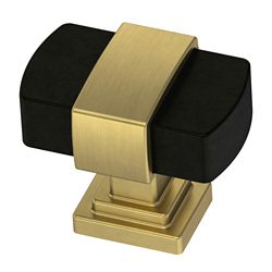 Liberty Wrapped Square 1-3/16 inch (30mm) Dual Finish Brushed Brass base with Flat Black bar Cabinet Knob