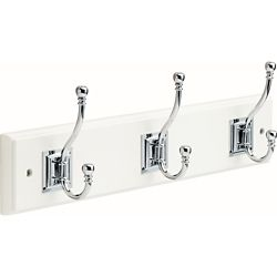 Liberty 18 inch White and Chrome Architectural Coat and Hat Hook Rack