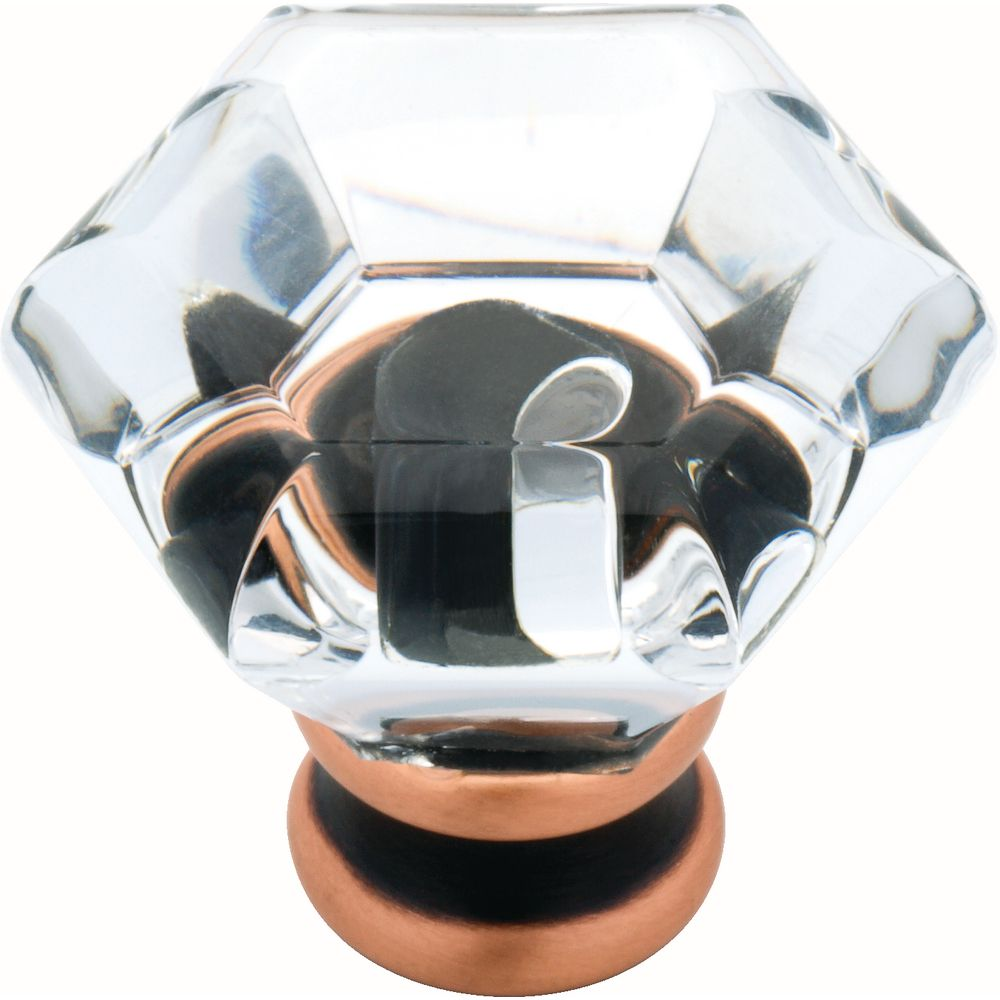 Liberty 1-1/4 inch Venetian Bronze with Copper Highlights with Clear Acrylic Hexagon Cabinet Knob