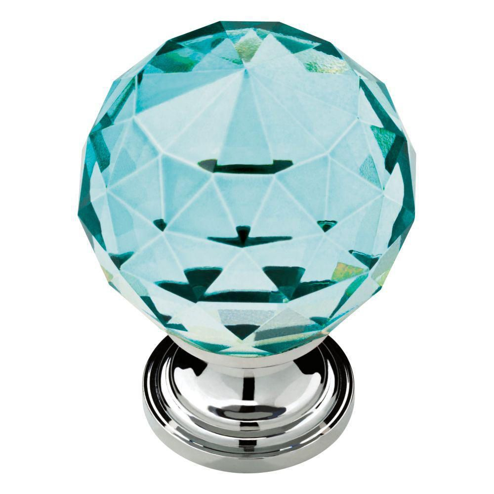 Liberty Faceted Crystal 1-3/16inch Chrome with Cerulean Glass Cabinet Knob
