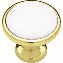 Liberty 1-1/4 inch Polished Brass with White Ceramic Insert Cabinet Knob