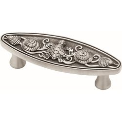 Liberty Seaside Cottage 3 inch (76mm) Brushed Satin Pewter Oval Cabinet Pull