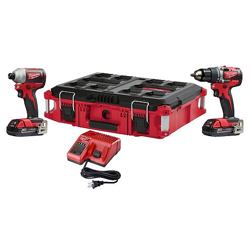 Milwaukee Tool M18 18V Li-Ion Brushless Cordless Drill/Impact Combo Kit (2-Tool) With (2) 2Ah Batteries & Case