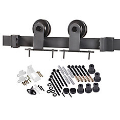 Premium Black Interior Country Rustic Barn Door Closet Top Hardware Track Kit