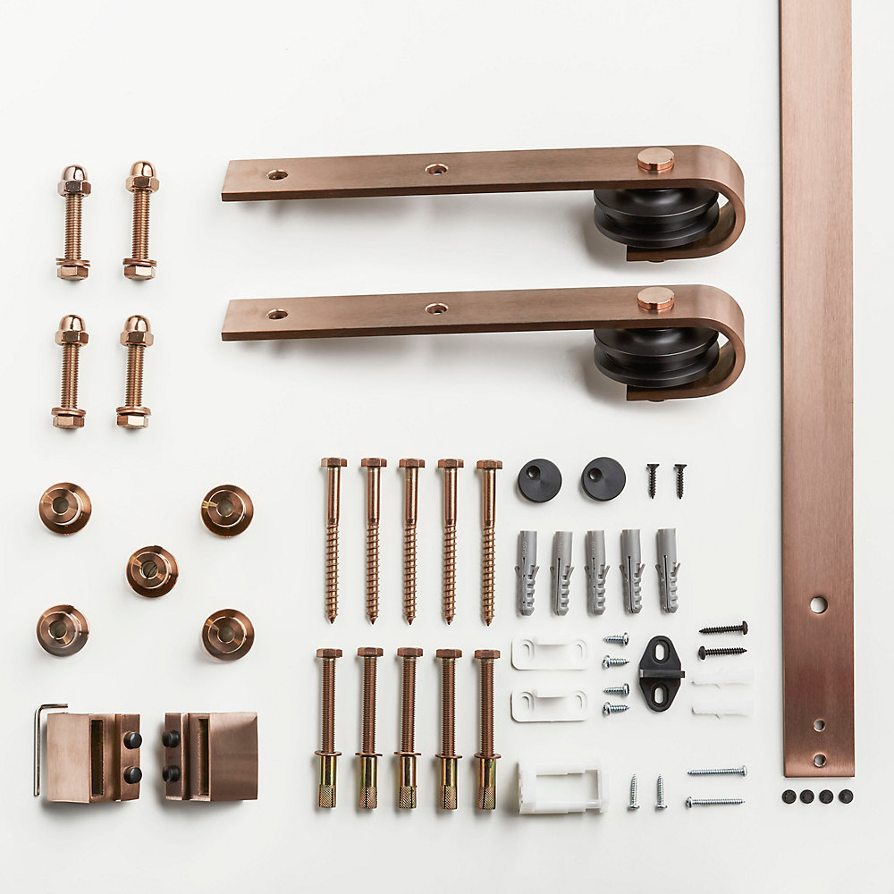 6.6 ft. (78 inch) Premium Rose Gold Interior Modern Country Rustic Wood Barn Door Closet Hardware Kit