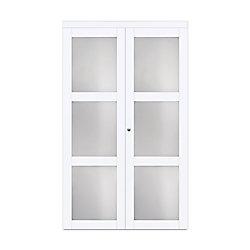 "TRUporte 30"" Modern European Off-White Bi-fold Closet Door 3 Frosted Glass Lite"