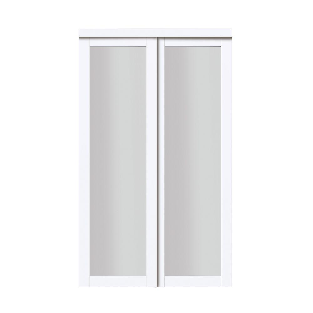 "TRUporte 48"" Modern European Off-White Sliding Closet Door 1 Frosted Glass Lite"