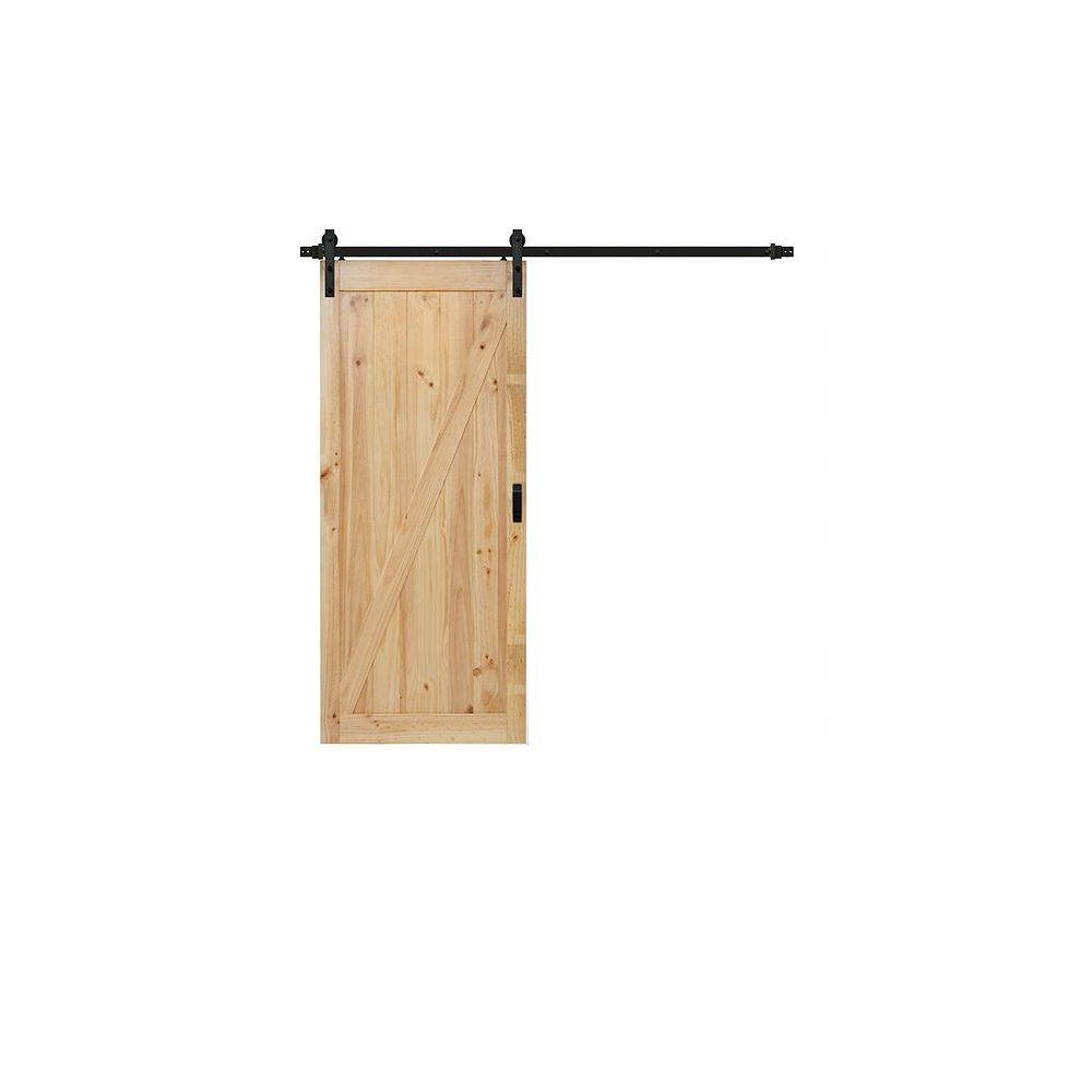TRUporte 36 inch x 84 inch Pine Z Design Rustic Barn Door with Modern Sliding Door Hardware Kit