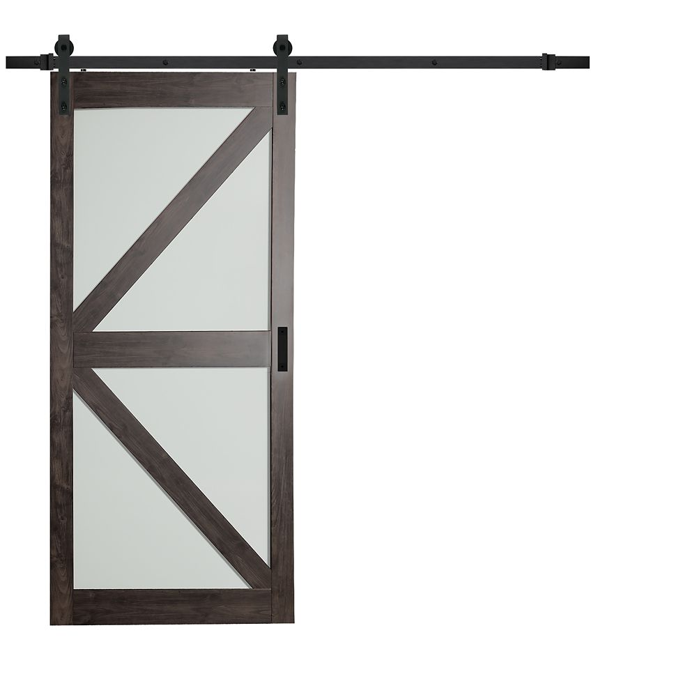 TRUporte 36 inch x 84 inch Iron Age K Lite Frosted Glass Rustic Barn Door with Modern Sliding Door Hardware Kit