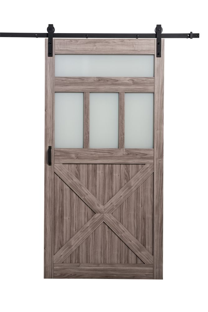 TRUporte 42 inch x 84 inch Silver Oak 3 Lite Frosted Glass Rustic Barn Door w. Modern Sliding Door Hardware Kit