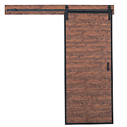 TRUporte 36 inch x 84 inch Acacia Horizontal Plank Rustic Barn Door with Modern Sliding Door Hardware Kit