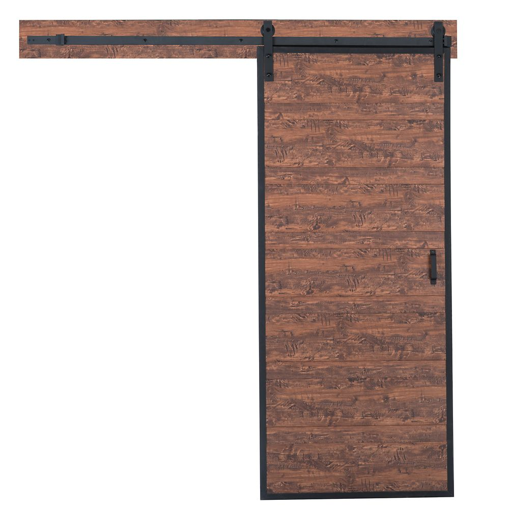 TRUporte 36 inch x 84 inch Acacia Horizontal Plank Rustic Barn Door with Modern Sliding Door Hardware Kit