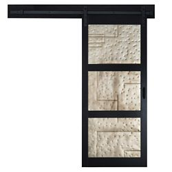 TRUporte 36 inch x 84 inch Black 3 Lite Metal Rustic Barn Door with Modern Sliding Door Hardware Kit