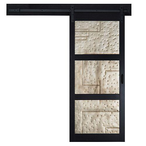 TRUporte Porte coulissante Black 3 Lite Metal de 36 x 84 po avec quincaillerie moderne de porte coulissante