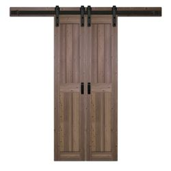 TRUporte 18 inch x 84 inch Gunstock Two Panel Biparting Rustic Barn Door with Modern Sliding Door Hardware Kit