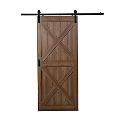 TRUporte 36 inch x 84 inch Gunstock Oak Double X Design Rustic Barn Door with Modern Sliding Door Hardware Kit