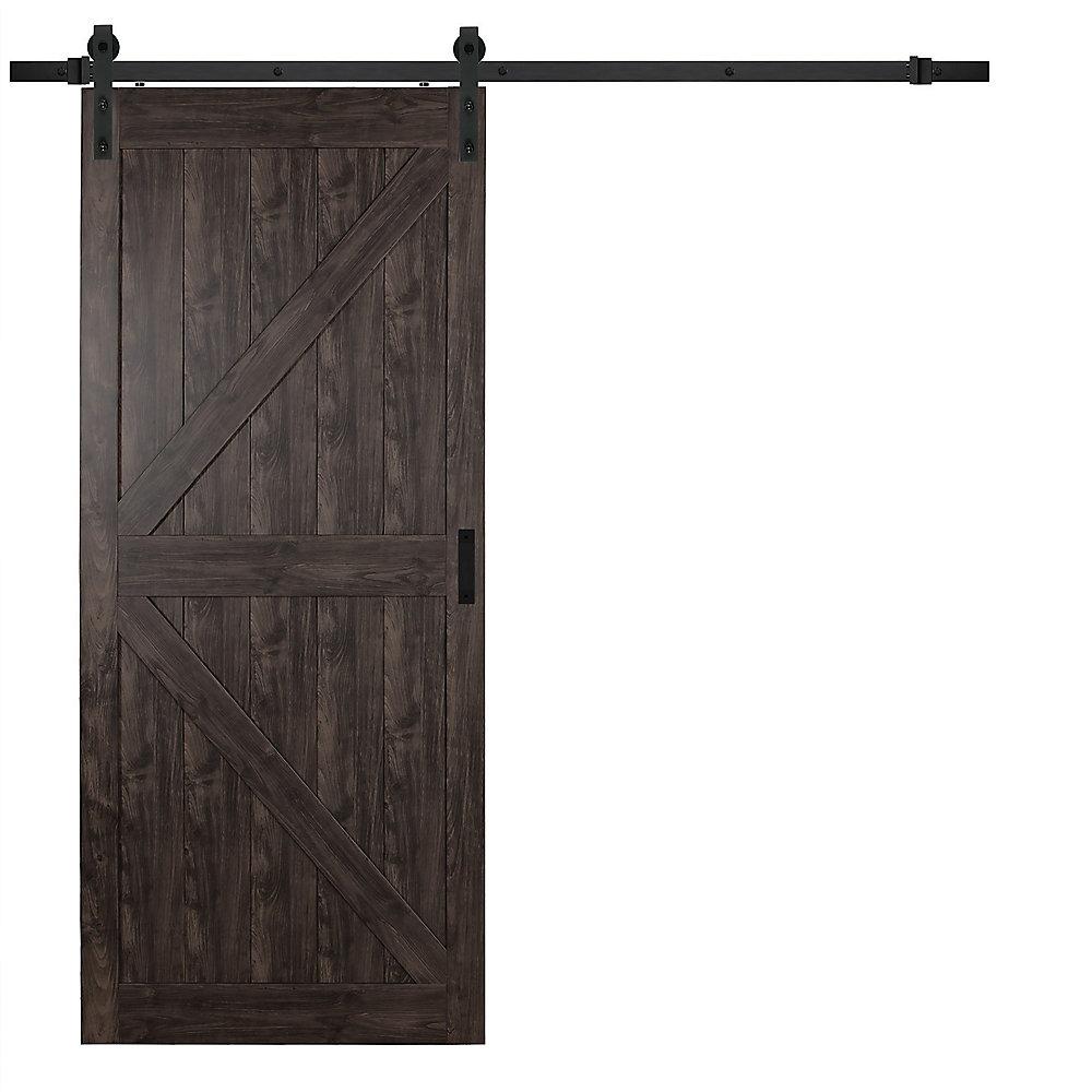 36 inch x 84 inch Iron Age K Design Rustic Barn Door with Modern Sliding  Door Hardware Kit