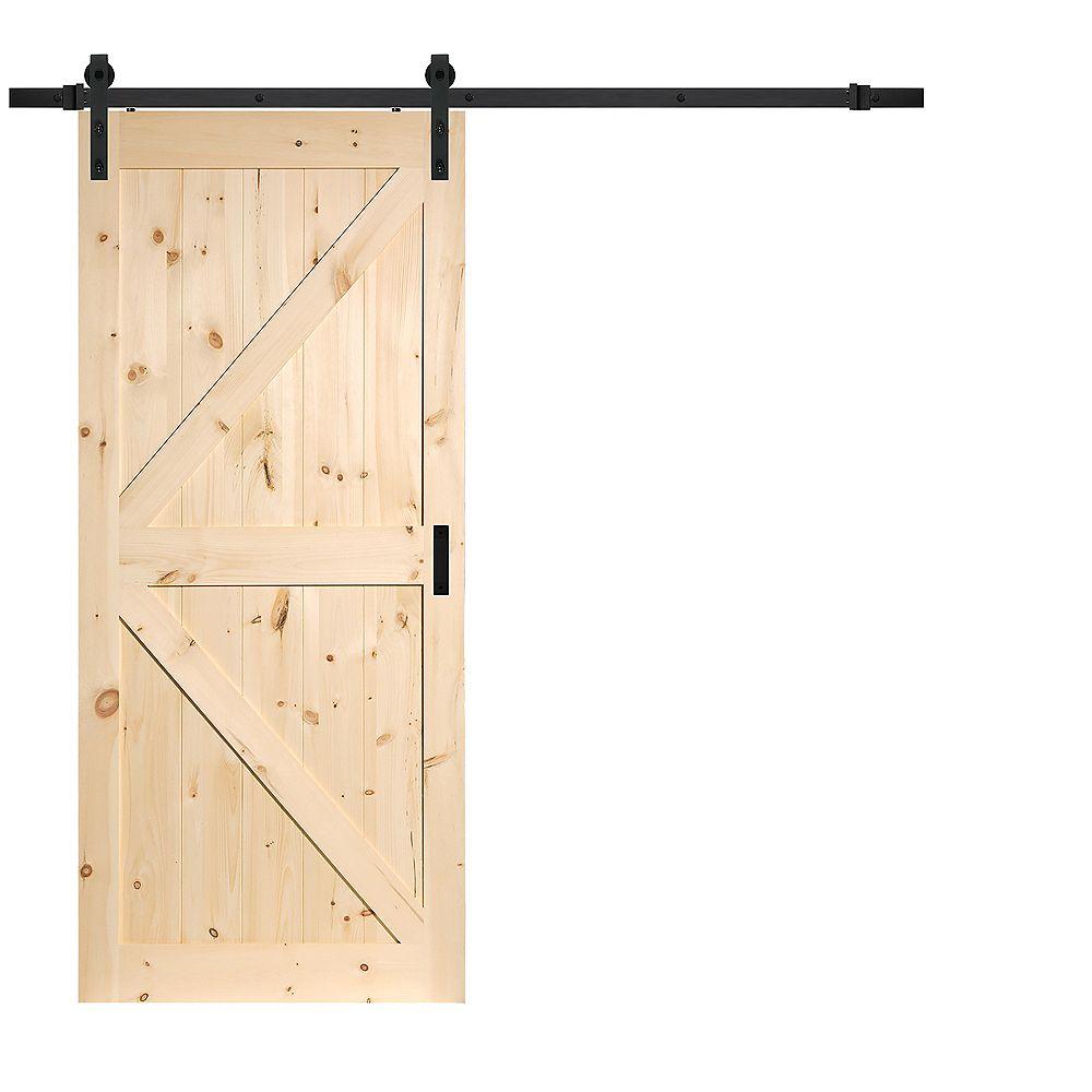 TRUporte 36 inch x 84 inch Pine K Design Rustic Barn Door with Modern Sliding Door Hardware Kit