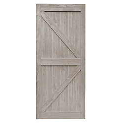 TRUporte 36 inch x 84 inch Silver Oak K Design Rustic Pre-Drilled Barn Door Slab