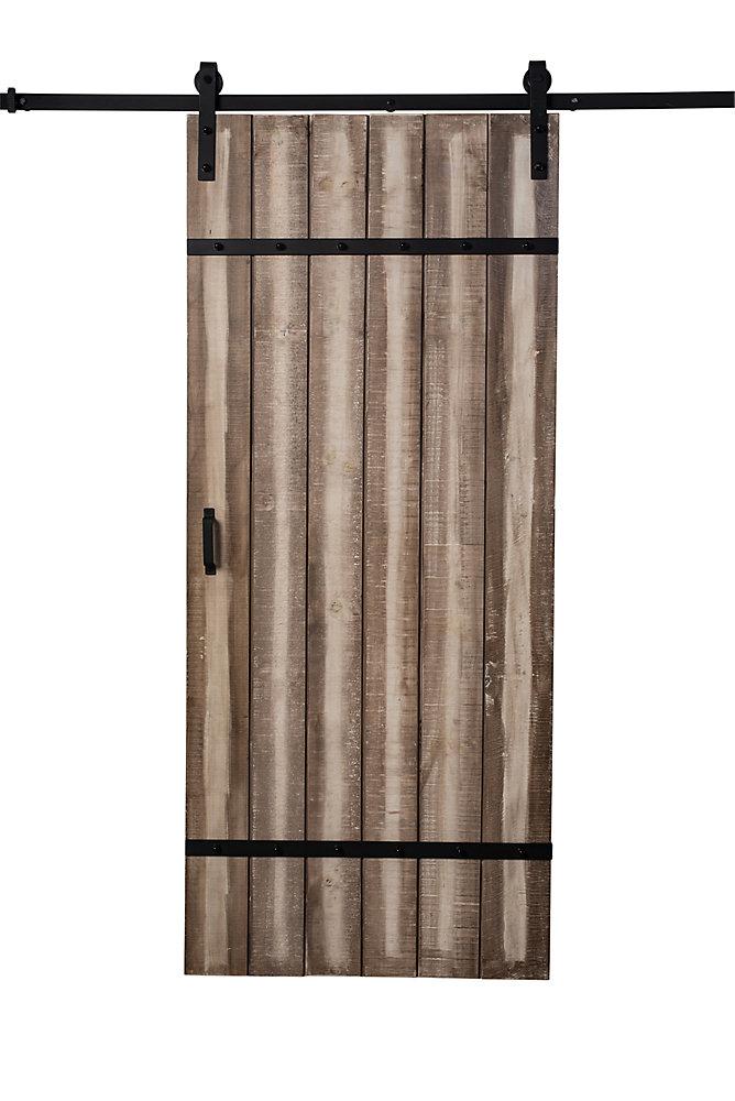 Truporte 36 Inch X 84 Inch Sandstone Cross Brace Barn Door