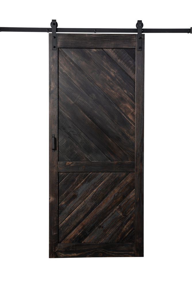 Truporte 36 Inch X 84 Inch Coffee Stain Angled Plank Barn