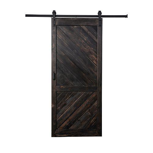 TRUporte Coffee Bean Stain Angled Plank quincaillerie moderne de porte coulissante et mécanisme souple
