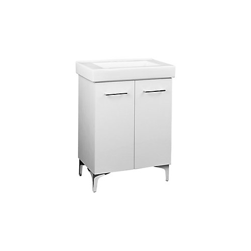 Broughton 24-inch Vanity in White with White Ceramic Top and Integrated Rectangular Sink