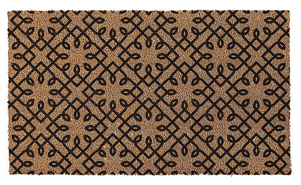 Paillasson d'extérieur, 18 po x 30 po, fibre de coco, tourbillon de diamants, brun et noir
