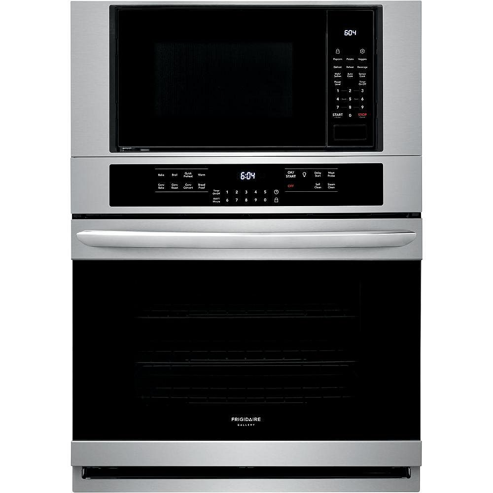 Frigidaire Gallery 30-inch 5.1 cu. ft. Electric True Convection Wall Oven with Built-In Microwave in Stainless Steel