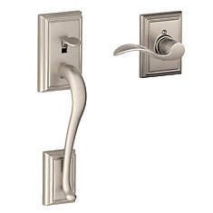 lower half handleset with Addison trim and Accent lever in Satin Nickel