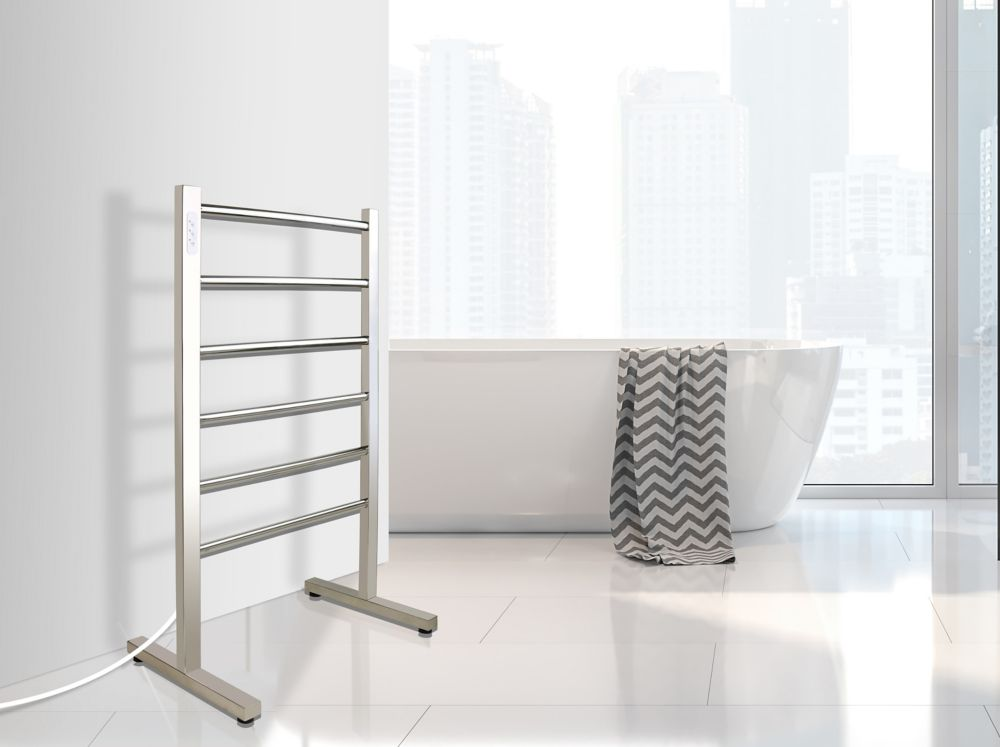 WarmlyYours Ibiza Freestanding Towel Warmer, Polished, Plug-in, 6 Bars