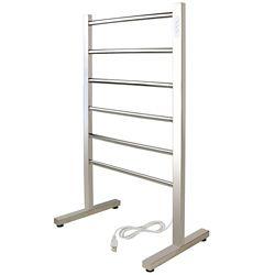 WarmlyYours 6-Bar Ibiza Freestanding Towel Warmer, Hardwired, Polished Stainless Steel