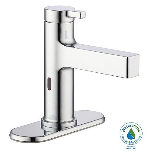 Robinetterie de salle de bains sans contact avec tuyauterie d'évacuation, chrome poli
