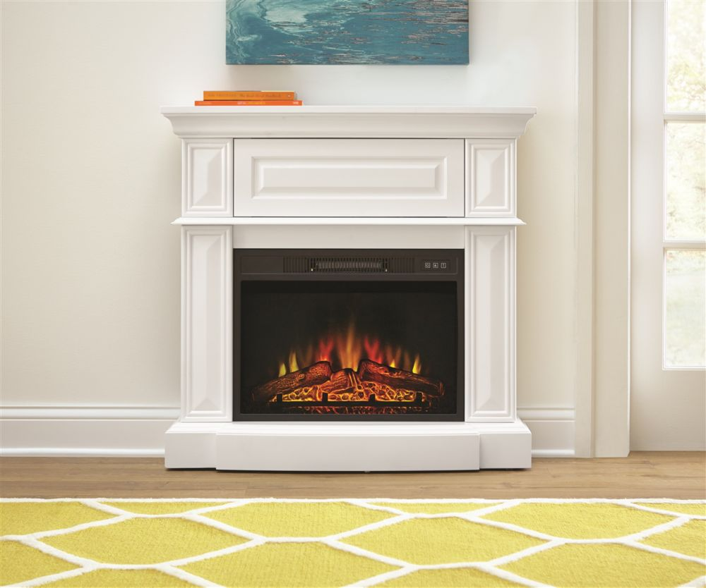 Stylewell 38-inch Electric Fireplace in White WSFP38HDC23-7W