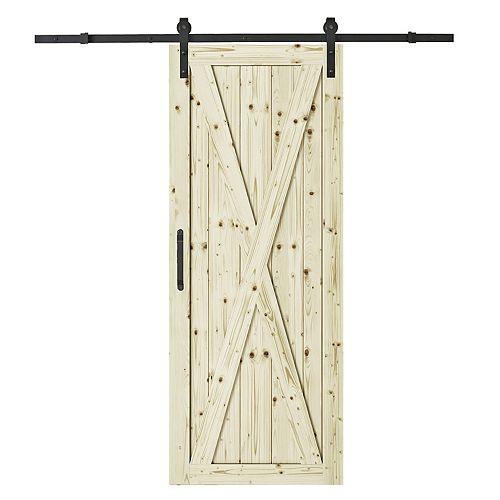 Colonial Elegance 37 inch X 84 inch X 1 inch Station Pine Interior Barn Door Kit with Black 78 inch Barn Spirit