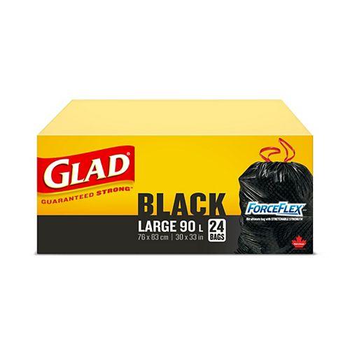 Glad Grands sacs à ordures noirs ForceFlex de à cordon coulissant, boîte de 24 sacs à ordures de 90L