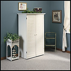 Harbor View Craft Armoire in Antiqued White
