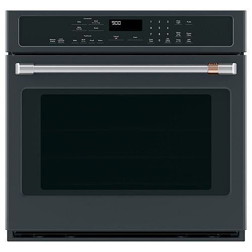 Café 30-inch Electric Self-Cleaning Single Convection Wall Oven in Matte Black
