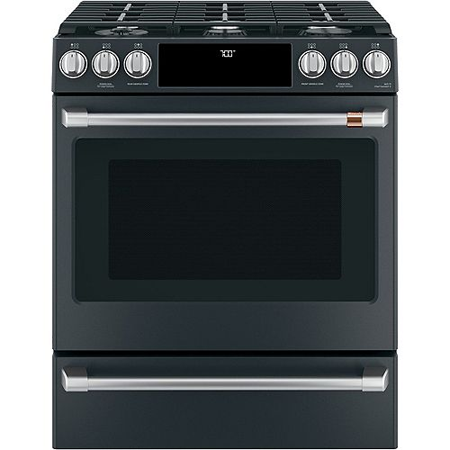 Café 5.6 cu. ft. Gas Slide-In Range with Precise Air True Convection in Matte Black