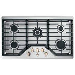 Café Table de cuisson à gaz encastrée de 36 po avec 5 brûleurs en acier inoxydable.