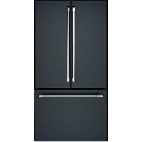 Café 36-inch 23.1 Cu. Ft. Counter-Depth French-Door Refrigerator in Matte Black, ENERGY STAR