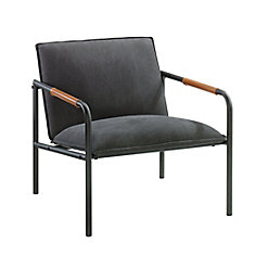 Boulevard Cafe Metal Lounge Chair in Charcoal Gray