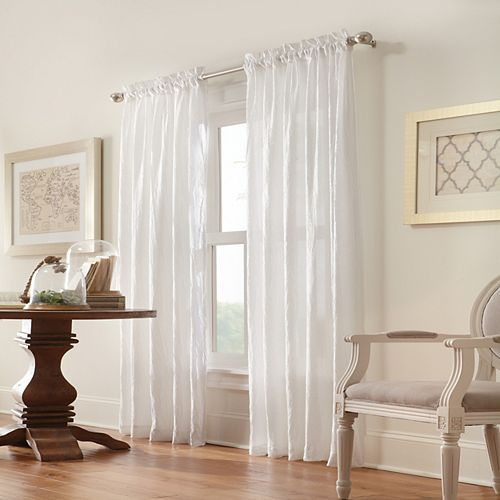 Home Decorators Collection Briana Crushed Satin Rod Pocket 48 X 63 White